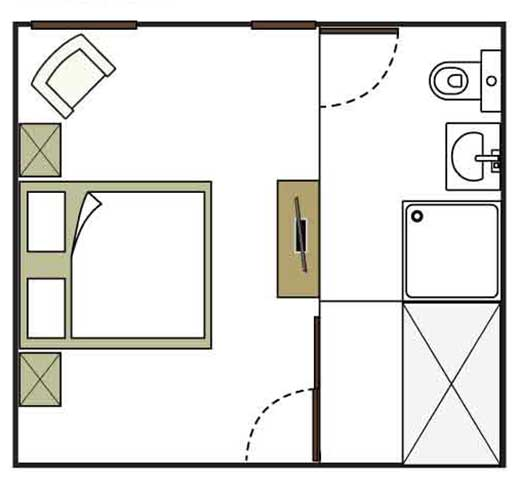Flinders room floor plan - not to scale